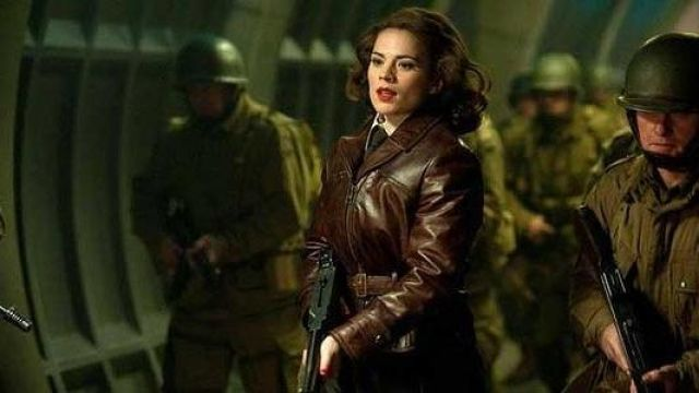 Brown Leather Jacket worn by Peggy Carter (Hayley Atwell) as seen in Captain America: The First Avenger