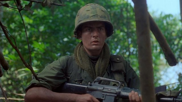The helmet of the soldier Chris Taylor (Charlie Sheen) in Platoon