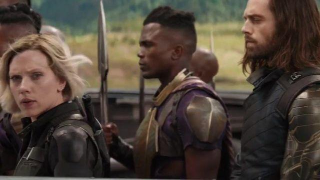 The metallic arm of Bucky Barnes (Sebastian Stan) in Avengers : Infinity War