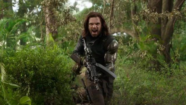 The replica of the metallic arm of Bucky Barnes (Sebastian Stan) in Avengers : Infinity War