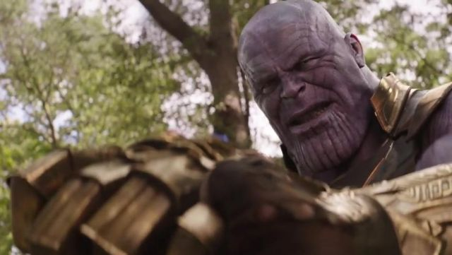 The mask scarred of Thanos (Josh Brolin) in Avengers : Infinity War