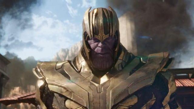 The mask and helmet of Thanos (Josh Brolin) in Avengers : Infinity War