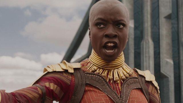 Okoye's (Danai Gurira) golden neck ring as seen in Black Panther