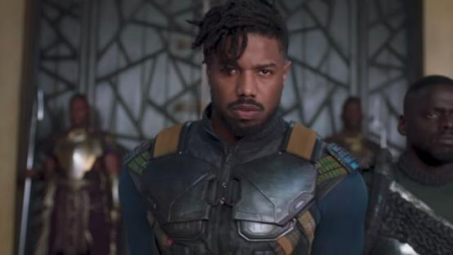 Erik Killmonger's (Michael B. Jordan) blue long sleeve t-shirt as seen in Black Panther