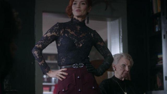 Black waist belt embellished by floral stone seen on Penelope Blossom (Nathalie Boltt) in Riverdale S02E17