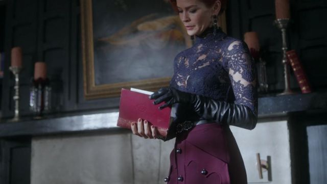 The burgundy high waisted skirt worn by Penelope Blossom (Nathalie Boltt) in Riverdale S02E17