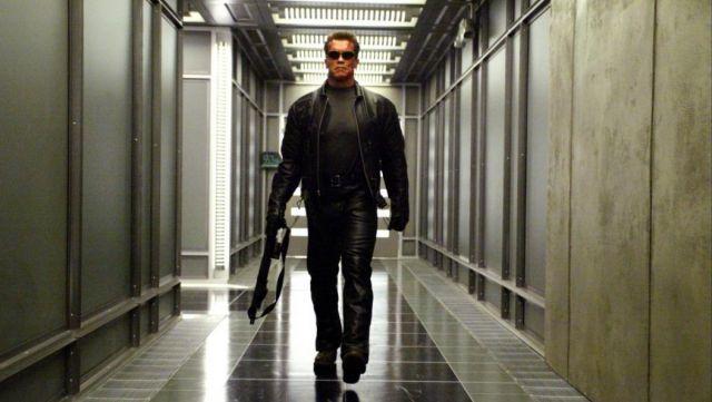Veste en cuir portés par le T‑800 (Arnold Schwarzenegger), comme vu dans Terminator 3: le soulèvement des Machines
