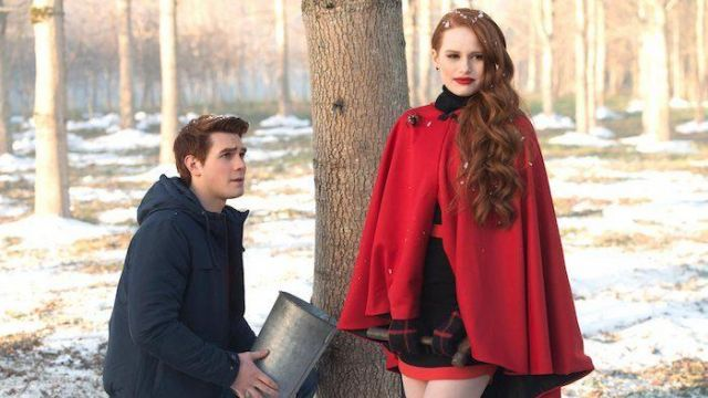 The black dress from Alice + Olivia worn by Cheryl Blossom (Madelaine Petsch) in Riverdale, Season 1 Episode 9