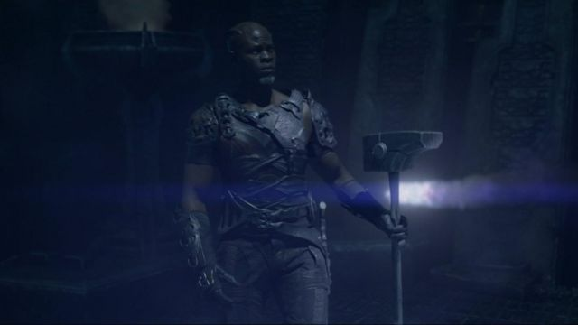 The replica of the hammer of Korath (Djimon Hounsou) in The Guardians of the Galaxy