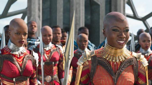 Okoye's (Danai Gurira) brass pauldron as seen in Black Panther