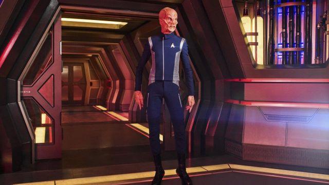 StarFleet blue Uniform  worn by First Officer Saru (Doug Jones) as seen in Star Trek: Discovery S01E03
