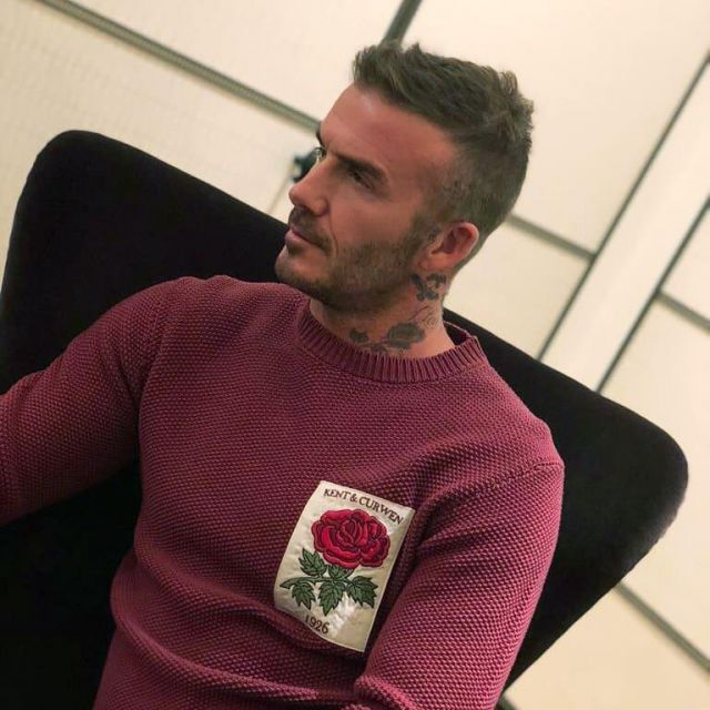 KENT /& CURWEN à Rayures Rose Vert Col V Ls Top rose bleue patch David Beckham RARE