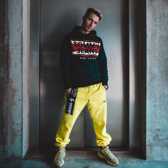 Aumentar al menos Inconsciente  The tracksuit pants yellow Adidas Originals By Alexander Wang Jimmy Charlon  on his account Instagram | Spotern