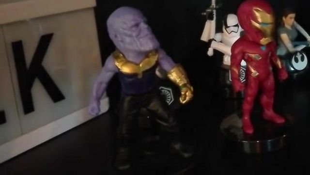 The figurine of Thanos version Avengers Infinity War in the