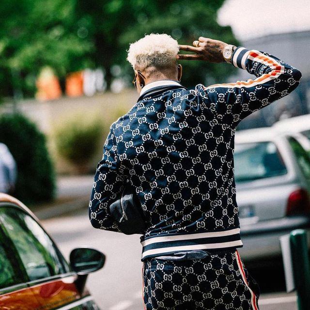 La veste en coton jacquard GG que porte Presnel Kimpembe sur
