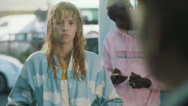 Blue Stand Collar Long Sleeve Clouds Print Jacket Worn By Angele In La Loi De Murphy Video Clip Spotern