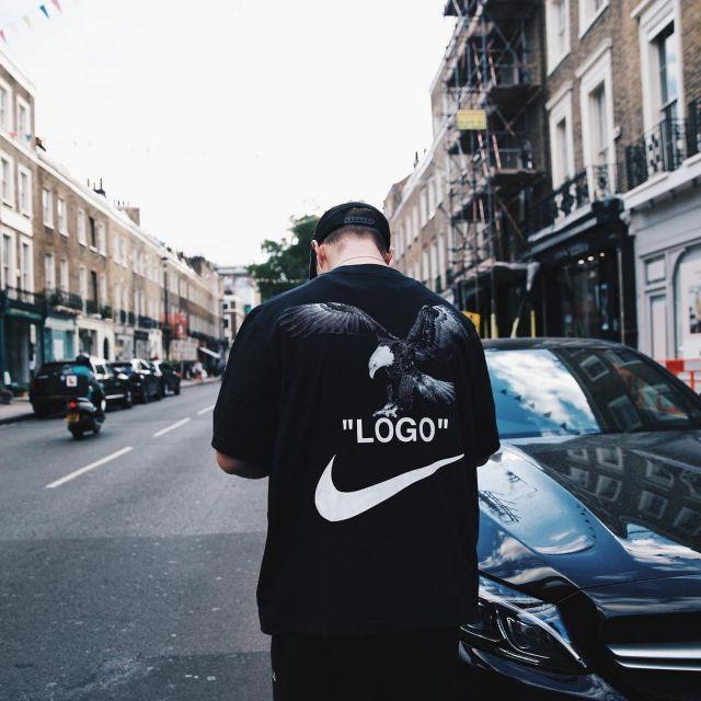 The black t shirt Nike x Off White that door Callum Hine on