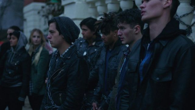 Southside Serpents black leather Jacket as seen in Riverdale S02E16