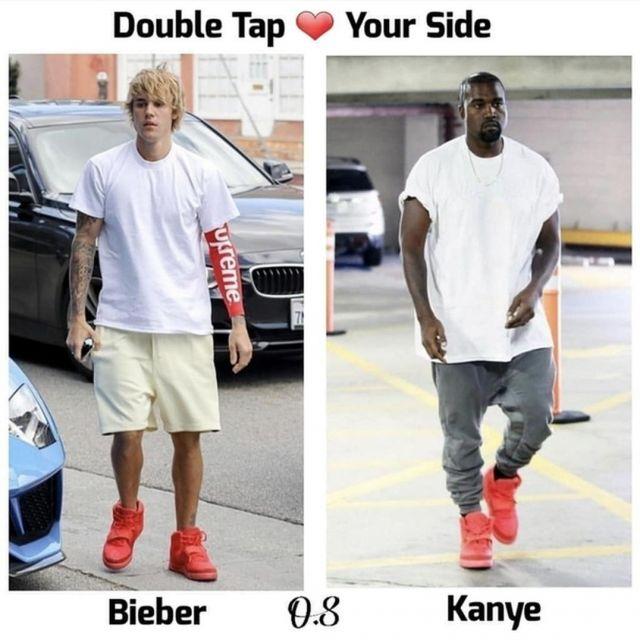 la manche rouge Supreme Nike portée par Justin Bieber vue sur le compte Instagram de FitRotation
