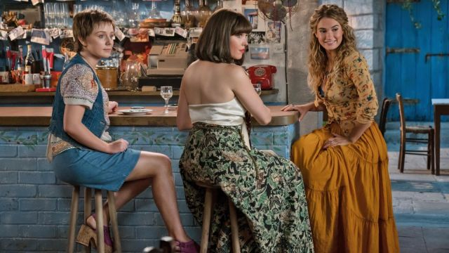 cheap sale dirt cheap limited price Young Donna (Lily James) orange maxi skirt as seen in Mamma ...