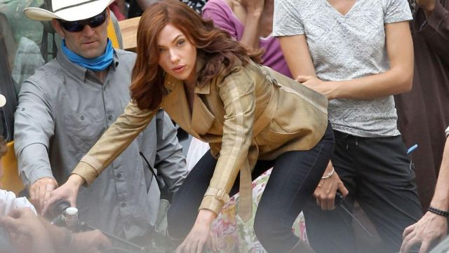 Beige jacket worn by Natasha Romanoff (Scarlett Johansson) as seen in Captain America: Civil War