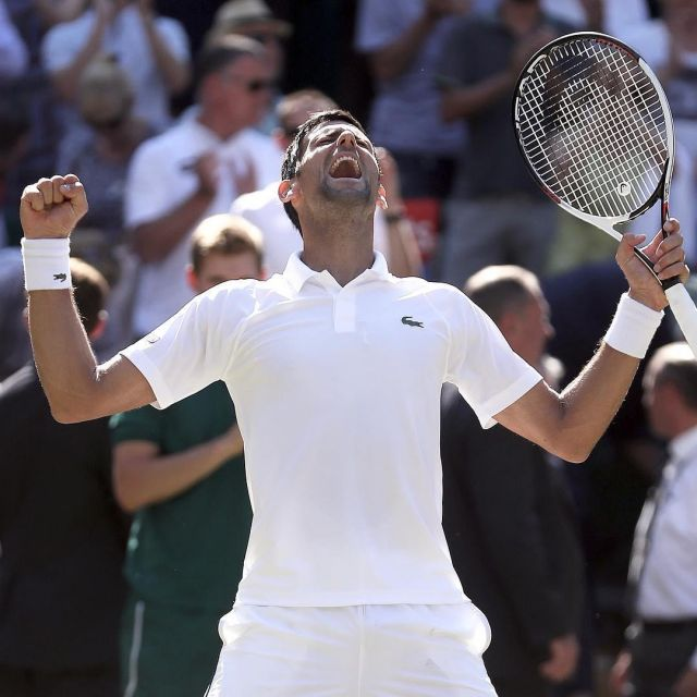 The Polo White Lacoste Novak Djokovic During His Win At The Wimbledon Tournament In 2018 Spotern