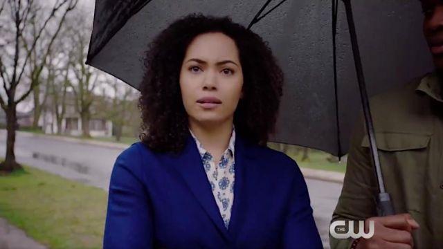 Blue coat worn by Macy Vaughn (Madeleine Mantock) as seen in