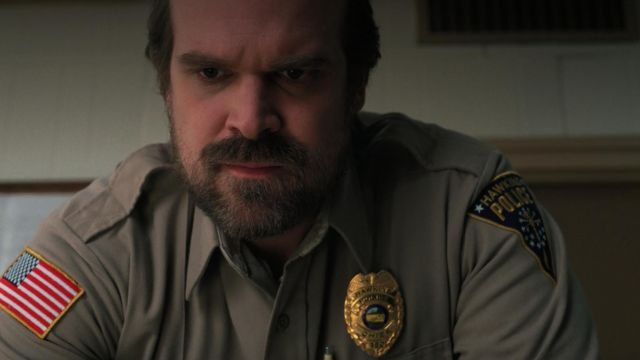 The badge of the sheriff Jim Hopper (David Harbour) in Stranger Things Season 2 Episode 3