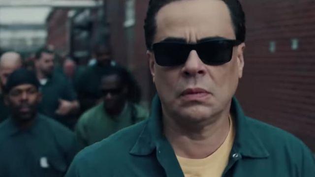 Black sunglasses worn by Richard Matt (Benicio del Toro) as seen in Escape at Dannemora