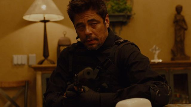 Black Tactical Long Sleeve shirt worn by Alejandro Gillick (Benicio Del Toro) as seen in Sicario