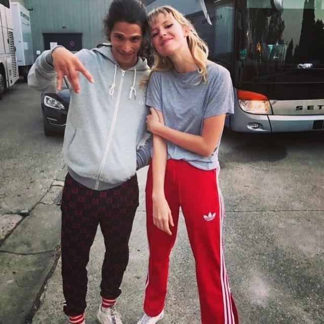 Le pantalon de survêtement Gucci logo GG de Moha La Squale sur son compte Instagram