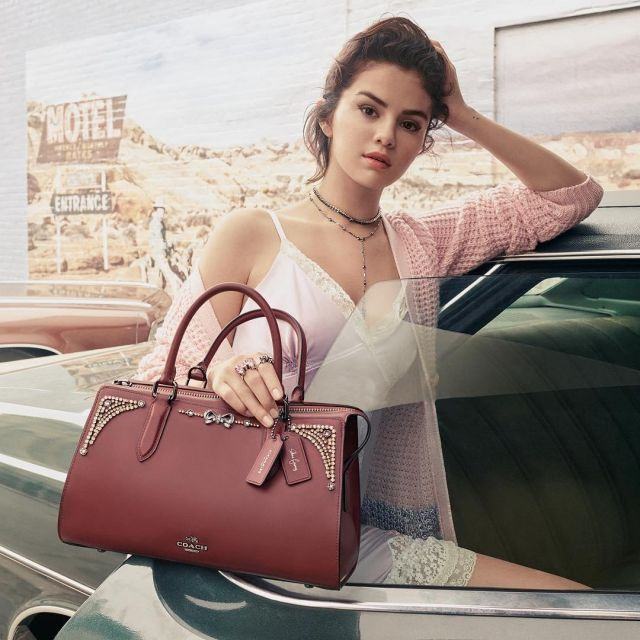 The chemise Coach x Selena Gomez Slip Dress with Lace Trim of ...