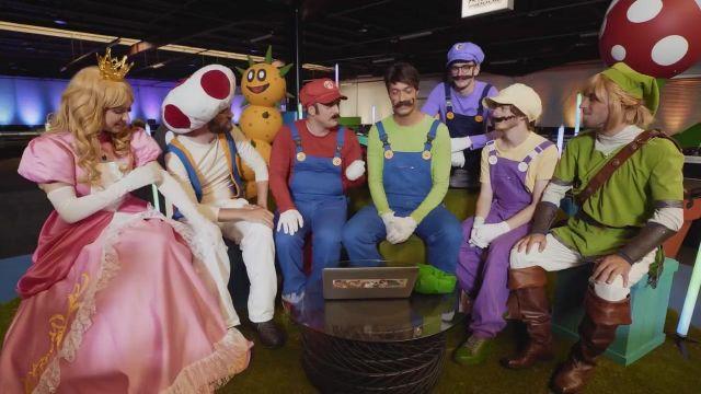 Le costume Nintendo de Peach porté par Natoo dans la vidéo Mario carte bleue all star de Mcfly & Carlito