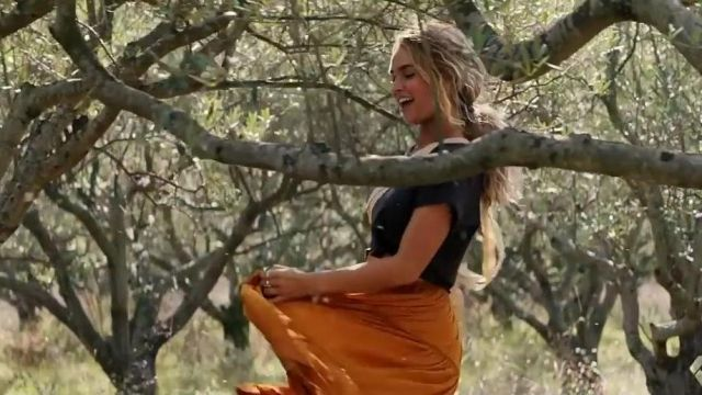 aliexpress best choice outlet store sale Orange boho maxi skirt worn by Young Donna (Lily James) as ...