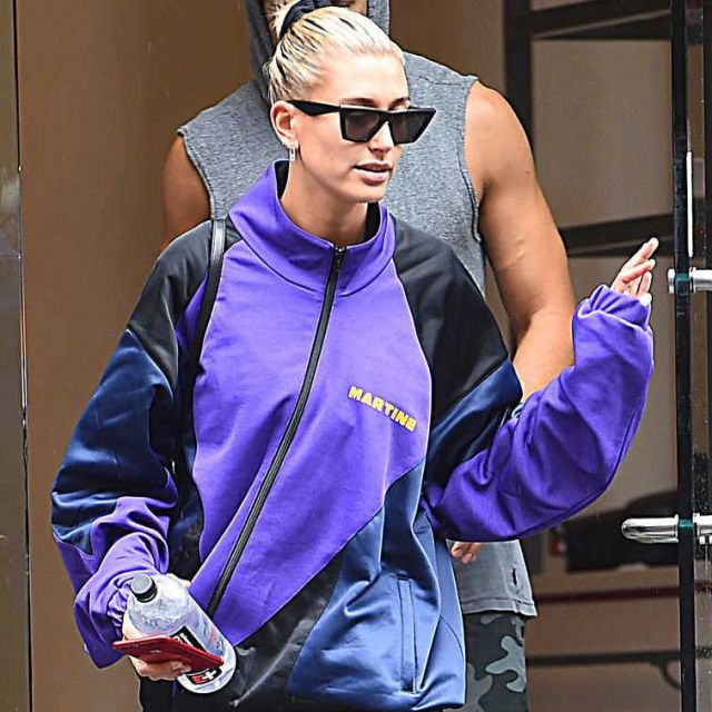 The tracksuit jacket Martine Hailey Baldwin wearing boxing in New York