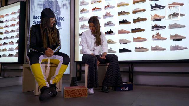 "Le pantalon Fear of God jaune et bleu porté par Baloo dans la video youtube ""Malika Menard - Bail 2 Sneakers"""