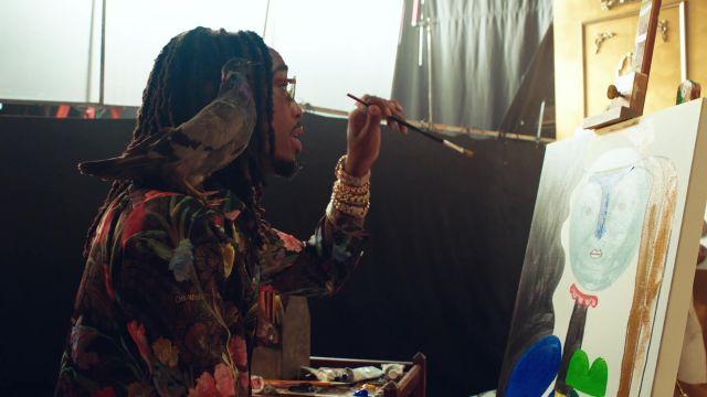 """La chemise à fleurs Off White de Quavo dans le video clip """"No Brainer""""de DJ Khaled ft. Justin Bieber, Chance the Rapper"""