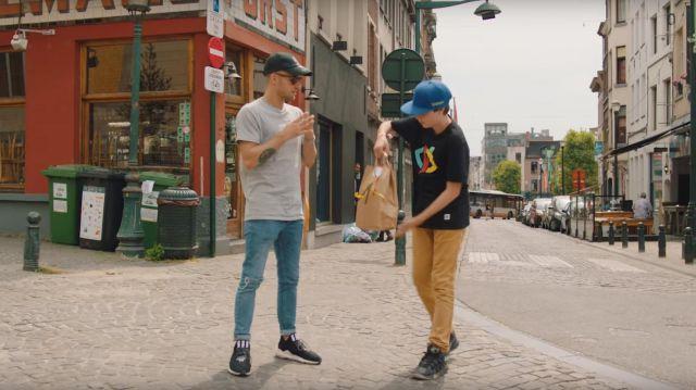 """Les Sneakers noire Adidas Saikou y3 portées par Squeezie dans la vidéo YouTube """"Je surprends 8 Abonnés autour du monde ❤️????"""""""