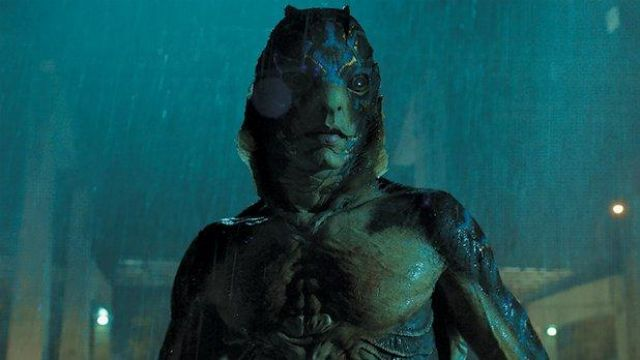 The reply of the mask of Amphibian Man (Doug Jones) in The Form of water