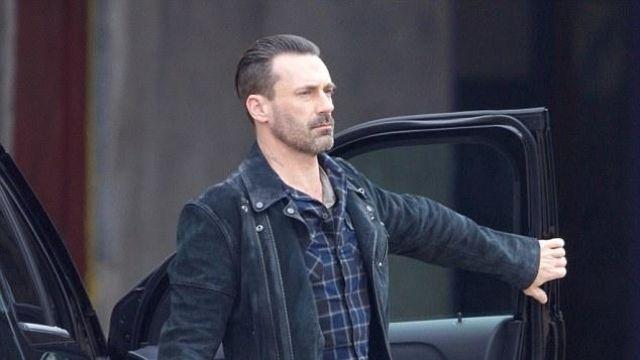Jon Hamm Buddy Black Jacket from movie Baby Driver