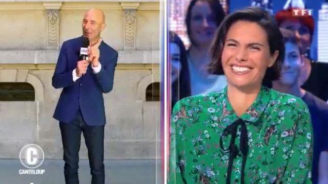 La chemise verte en soie imprimée de Alessandra Sublet dans C'est Canteloup du 25 octobre 2018