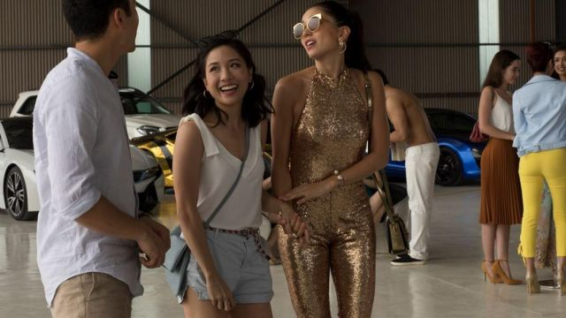 The combination sequined Carven Ong Couture worn by Araminta Lee (Sonoya Mizuno) in Crazy Rich Asians