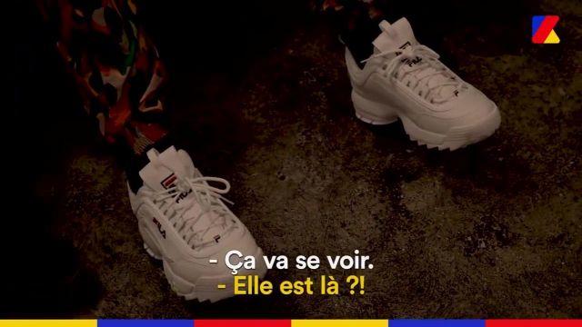 La paire de Fila Disruptor II portée par Moha La Squale dans la vidéo À Domicile : Moha La Squale, la rage de vivre