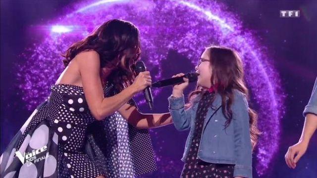 The Dress Black Asymmetric Polka Dot Richard Quinn Carried By Jenifer In The Final Of The Voice Kids 5 Spotern