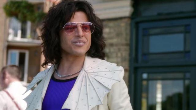 Pink aviator sunglasses worn by Freddie Mercury's (Rami Malek) as seen in Bohemian Rhapsody