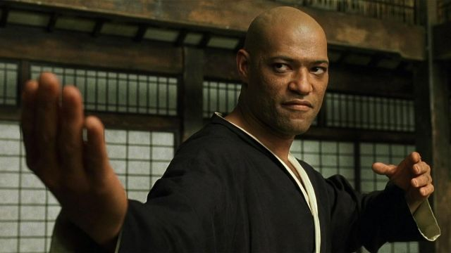 Martial Art Uniform in black worn by Morpheus (Laurence Fishburne) in The Matrix