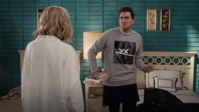 "Marc Jacobs ""XX"" Sequins Embroidered Sweatshirt in Grey worn by David Rose (Dan Levy) in Schitt's Creek S04E03"