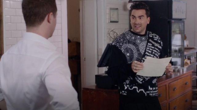 Juun.j Ryan Printed Neoprene Sweatshirt worn by David Rose (Dan Levy) in Schitt's Creek S04E06