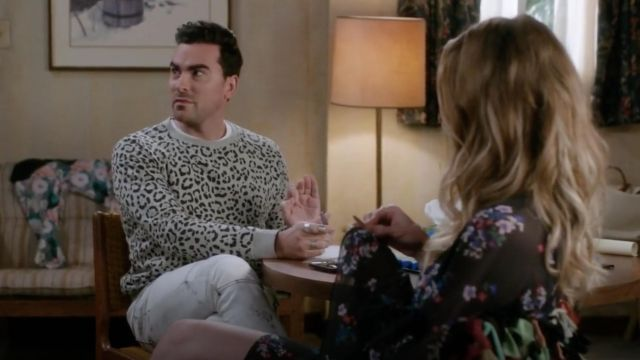Printed sweater worn by David Rose (Dan Levy) in Schitt's Creek S04E01