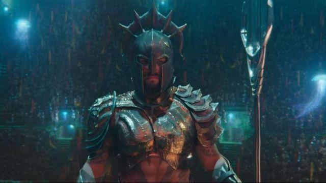 The gladiator helmets of Aquaman (Jason Momoa) in Aquaman